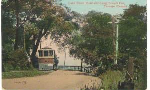 Toronto postcards-Lakeshore Rd. and Longbranch car front
