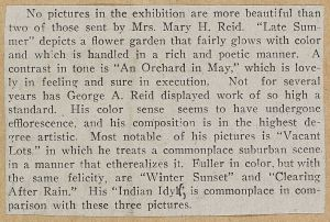 O.S.A. exhibition 1912 review Mary & George Reid p331